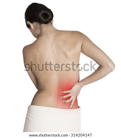 Woman with back pain for a contracture