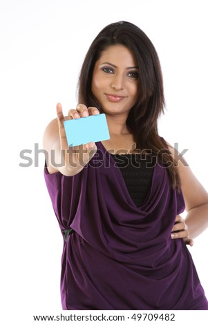 woman with blue credit card