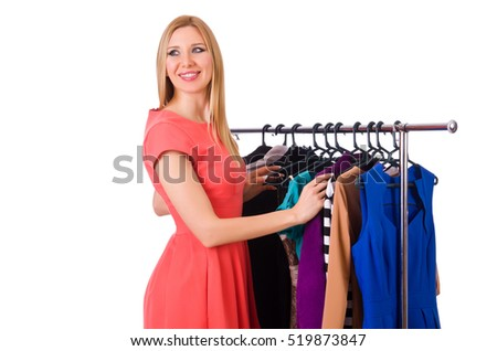 Woman with clothing isolated on white