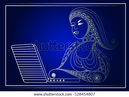 Woman with laptop. Suitable for invitation, flyer, sticker, poster, banner, card,label, cover, web.
