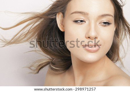 woman with long hair and clean fresh skin. studio shot, Horizontal