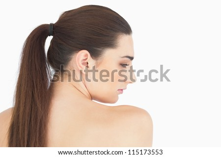 Woman with long hair looking natural