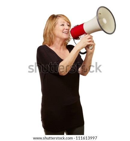 Woman with megaphone isolated on white background
