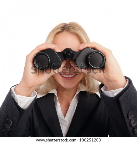 Woman with ocular looking straight into camera