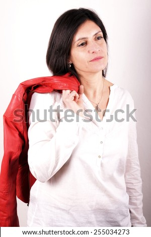 Woman with red leather jacket