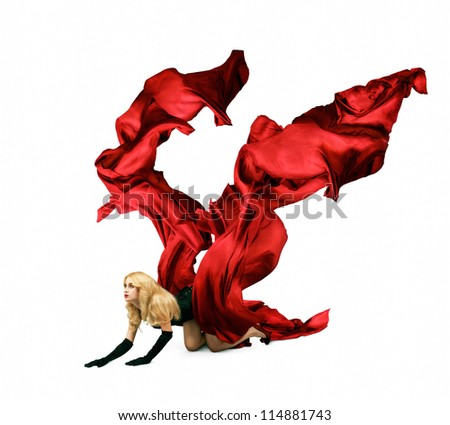 Woman with Red Silk Crawling on White Background