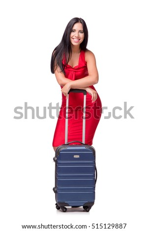Woman with suitcase isolated on white background