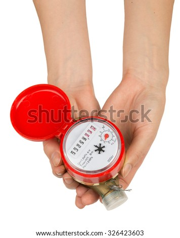 Womans hands holding water meter on isolated white background