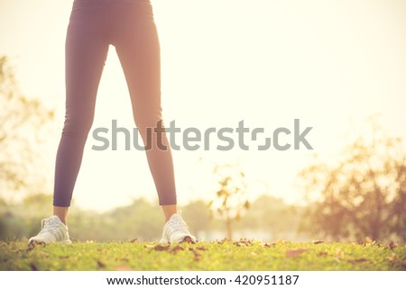 Women exercising.Women exercising in sunny bright light.Vintage color