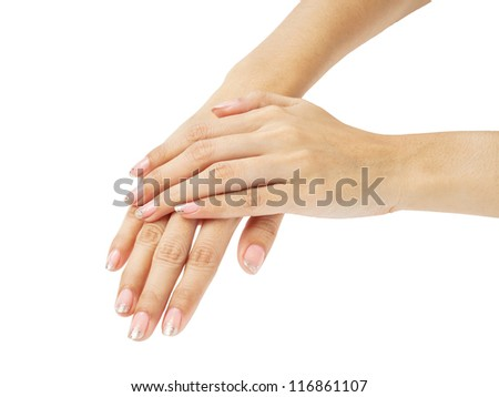 Women hands with nail manicure