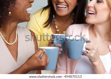 Women having coffee and talking.