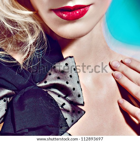 Color portrait women posing smile lips bow design dress peas