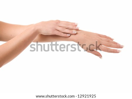 Women's hands on isolated a white background