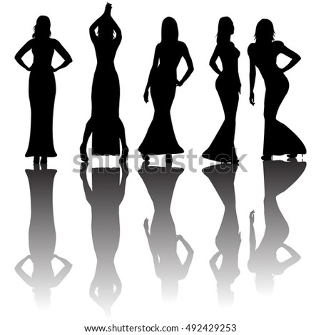 Fashionable Women Silhouettes Vector Stock Vector 56960563 ...
