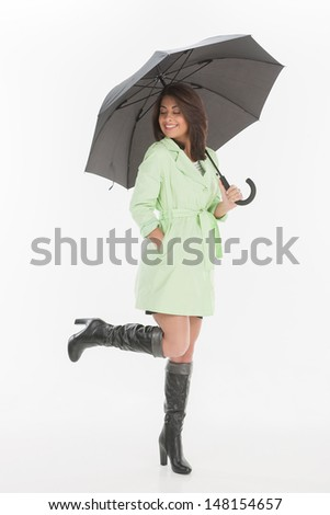 Women with umbrella. Full length of beautiful young women holding an umbrella and smiling while isolated on white