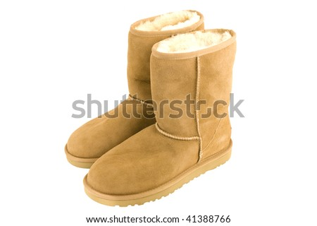 Womens Sheepskin boots isolated on white - stock photo