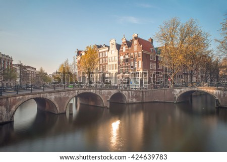 Wonderful Amsterdam view on  tradition houses in Amsterdam, Netherlands. Amsterdam is the capital and most populous city of Netherlands