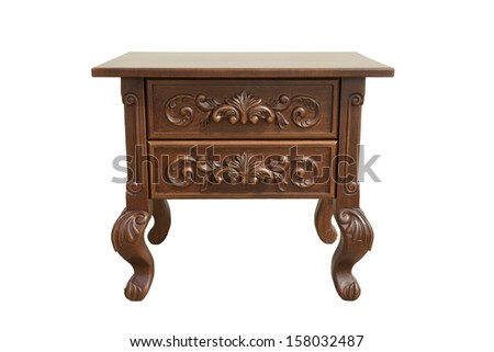 wood bedside table on white background