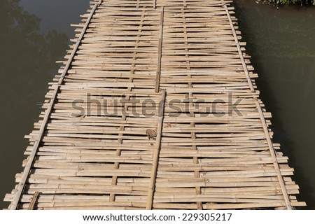 wood bridge made from bamboo weave