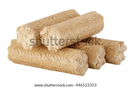 Wood briquettes isolated on white background. Include clipping path