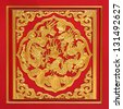 Wood carved on red door, Chinese style - stock photo
