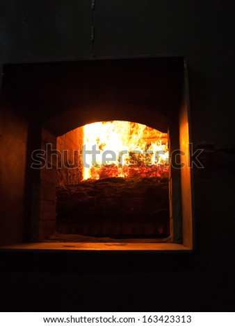 Wood chips burning inside the bio fuel boiler