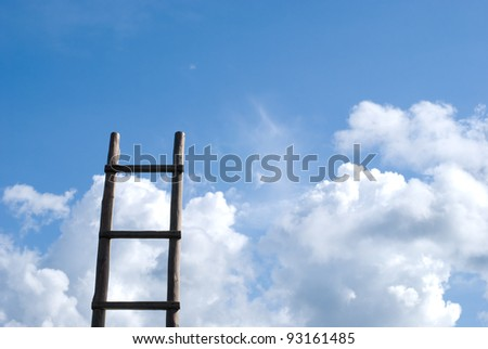 Wood ladder standing to the sky