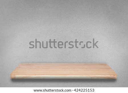 wood shelf on paper grey background. can be used for display or montage your products