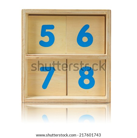 wood shelf with number toy on white background