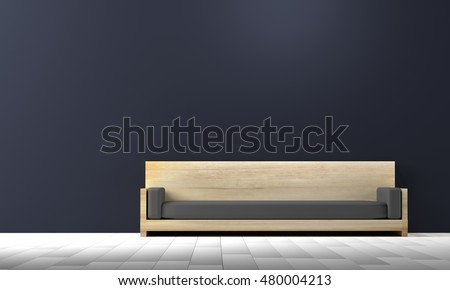 wood sofa in living room with blue wall, 3d render