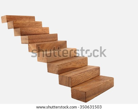 Wood stairway isolated