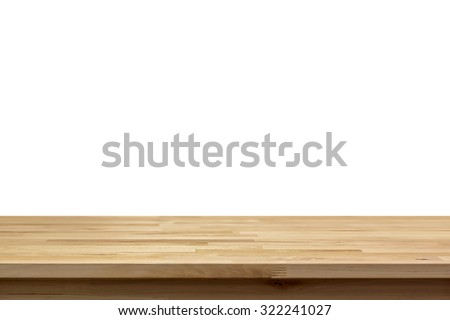Wood Table Top Isolated On White Background   Can Be Used For Display Or  Montage Your