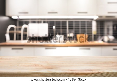 Kitchen Table Top Background wood table top on blur kitchen stock photo 458422708 - shutterstock