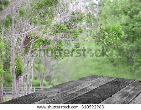 wood table with natural background and bokeh, for product display