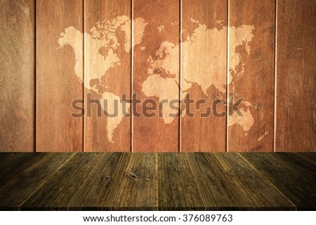 Wood texture surface natural color use for background , process in vintage style with Wood terrace and world map