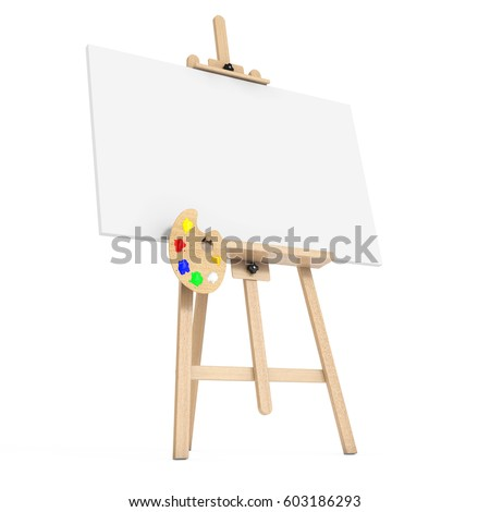 wooden artist easel with white mock up canvas and palette on a white background 3d