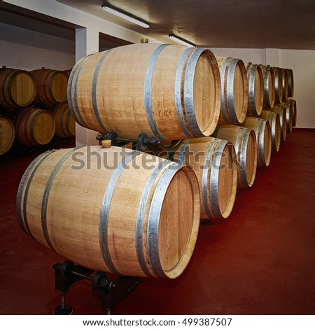 Wooden Barrels with Wine in the Storehouse