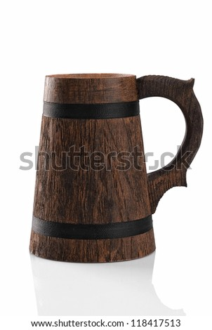 Wooden beer mug isolated on a white background. File contains path to cut.