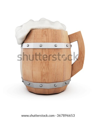 Wooden beer mug with foam isolated on white background. 3d rendering.
