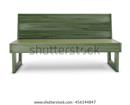 Wooden bench on the white
