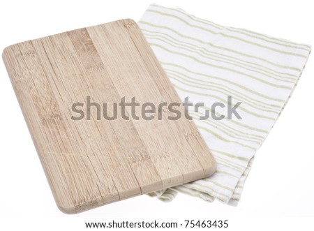 Wooden Block and Napkin Kitchen Background with Copy Space Isolated on White with a Clipping Path.