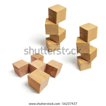 Wooden Blocks on Isolated White Background