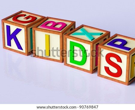 Wooden Blocks Spelling Kids As Symbol for Childhood And Children