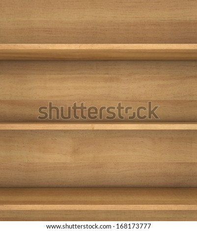 wooden book shelf. 3d render on white background.