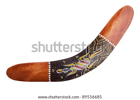 Wooden boomerang with painted lizard on white background