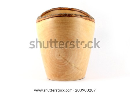 wooden bowl isolated on white background