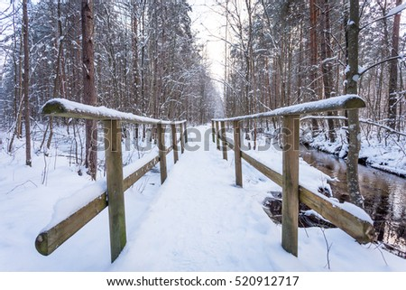Wooden bridge in snow forest - close up