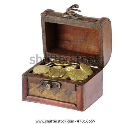Wooden casket full of coins isolated on white