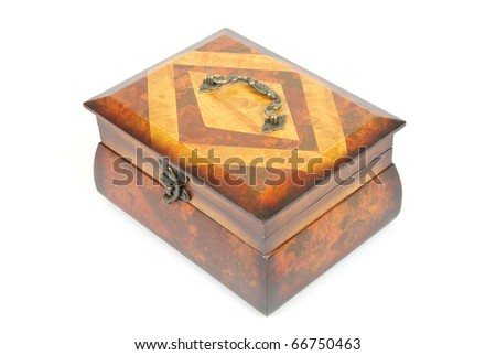 Wooden casket isolated on a white background