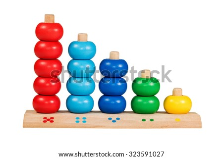 Wooden children toy scores from one to five of the colored rings isolated on a white background